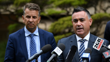 Transport Minister Andrew Constance and Deputy Premier John Barilaro at a press conference with Treasurer Dominic Perrottet.