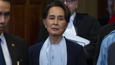 Aung San Suu Kyi enters the courtroom before addressing judges at the International Court of Justice last week.