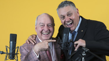 Happier Days: Alan Jones and Ray Hadley in 2017.