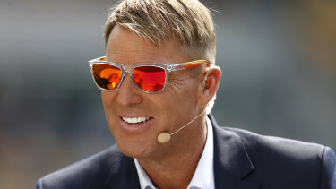 Shane Warne in commentary in Brisbane this summer.