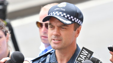 Stuart Bateson at a press conference about the Bourke Street massacre in 2017.