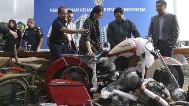 The smuggled bike revealed at a press conference in Jakarta on Thursday.