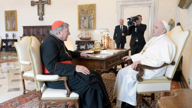 Cardinal George Pell, left, met with Pope Francis on his return to the Vatican after his sex abuse conviction and acquittal in Australia.
