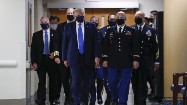 The US President wore the mask for the first time in public since the pandemic began.