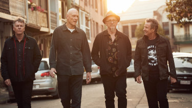 Midnight Oil. From left, Martin Rotsey, Peter Garrett, Jim Moginie and Rob Hirst. Bassist Bones Hillman was unable to travel for the image.