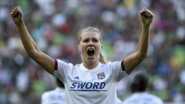 Ada Hegerberg celebrates  one of her three goals en route to Lyon's Champions League win.