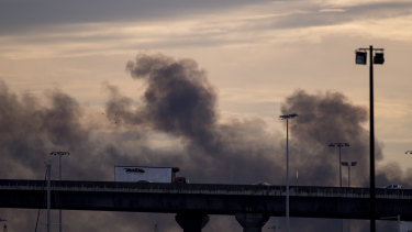 Smoke from the factory fire in West Footscray last August.