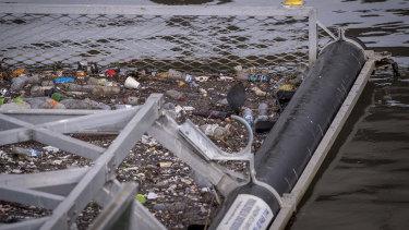A litter trap in the Yarra River near Webb Bridge.