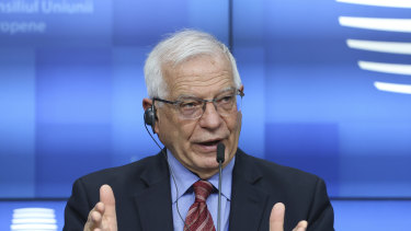 European Union foreign policy chief Josep Borrell speaks the EU announced sanctions for China.