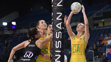 Kiera Austin shoots during an impressive Constellation Cup series against New Zealand.