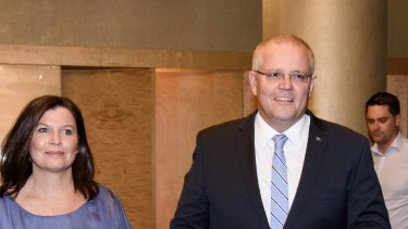 Prime Minister Scott Morrison arrives at the ballroom of the Sofitel Wentworth in Sydney for celebrations.