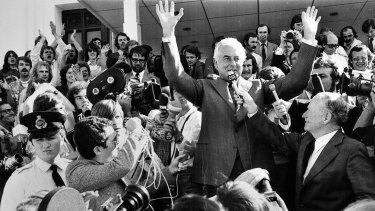 Gough Whitlam on the steps of Parliament after his dismissal in 1975.