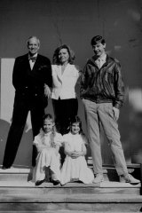 The Zampatti-Spender family on the steps of their Sydney home in 1986. Clockwise from left: John Spender, Carla Zampatti, Alex Schuman, Allegra Spender, Bianca Spender.