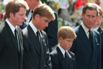 Princess Diana's sons Princes William and Harry with their father Prince Charles and uncle Earl Spencer outside Westminster Abbey on the day of their mother's funeral in 1997.