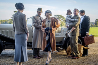 Time moves on at Downton: from left, Elizabeth McGovern as Lady Cora Crawley, Harry Hadden-Paton as Bertie Pelham, Laura Carmichael as Edith Pelham, Hugh Bonneville as Robert Crawley and Michael Fox as Andy Parker.