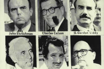 Six Watergate figures (from top left) John D. Ehrlichman, Charles W. Colson, G. Gordon Liddy and three Cuban-Americans - Eugenio Martinez, Felipe Dediego, Bernard L. Barker.