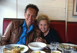 Tayrn Fiebig with Richard E Grant and her sausage dog Malcolm in Sydney.