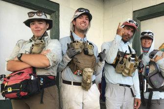 (From left to right) Charlie Thomas, Matt Butschek II, Matt Saunter and Naomi Worcester at the field camp on Kure Atoll.