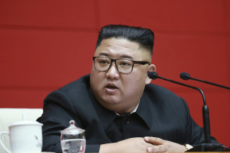 North Korean leader Kim Jong Un attends a ruling party meeting in Pyongyang.
