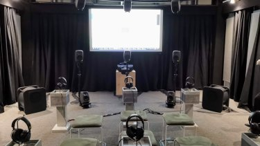 Sony's demo pitted headphones with 360 Reality Audio against a 13.2 surround speaker setup.