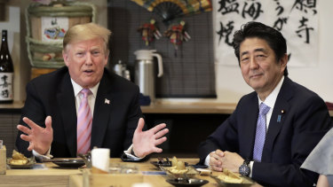 Trump and Abe have dinner at the Inakaya restaurant in the Roppongi district of Tokyo.