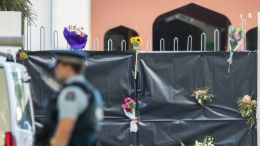 Flowers left by well wishers to the Al Noor Mosque.