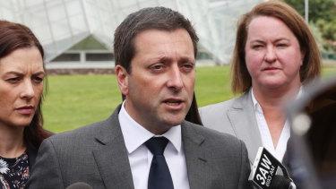Opposition Leader Matthew Guy announcing the hospital funding in Ballarat on Thursday.