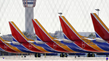 Boeing 737 Max jets grounded at Sky Harbor International Airport in Phoenix on Thursday.