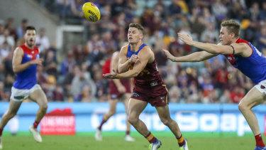 Firing up: Dayne Zorko lit up the midfield battle for Brisbane againt Melbourne.