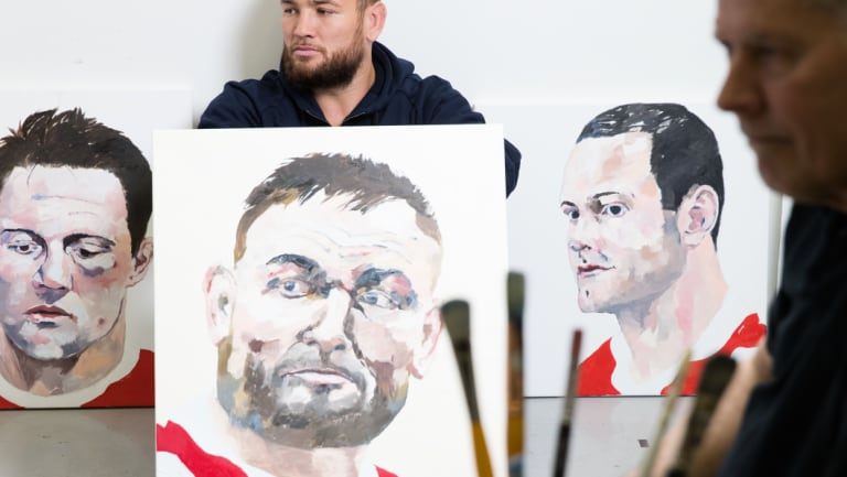 "Jared Waerea-Hargreaves says he recognises the ""far off look"" Harley Oliver has captured in his portrait."