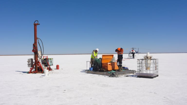 Agrimin drilling at the site of its future Pilbara potash brine lake.