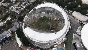 Election issue: Demolition work on Allianz Stadium last week.