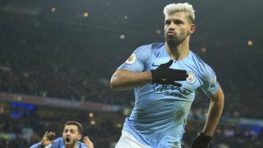 City's Sergio Aguero celebrates the opening goal against Liverpool.
