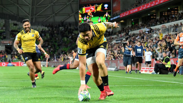 Dominant: Hurricanes winger Ben Lam scored four tries against the Rebels in round 7 last year.