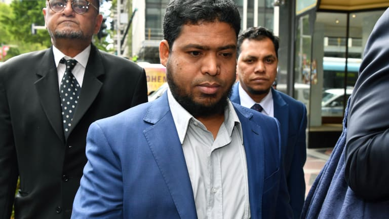 Uber driver Nazrul Islam arriving at court on Monday.