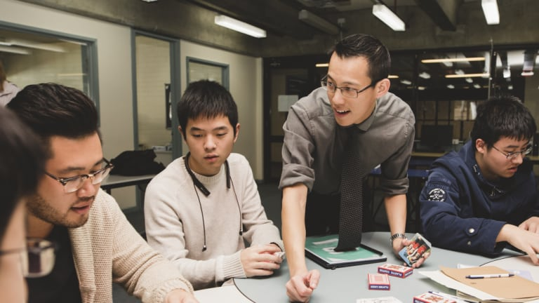 Eddie Woo in his element, running a special workshop for specialist maths students at Hawker College in Canberra.