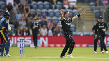 New Zealand's Matt Henry claims the wicket of Sri Lanka's Lahiru Thirimanne in Cardiff on Saturday.