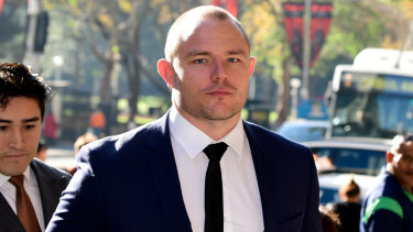 Former Roosters player Martin Kennedy (right) arrives at the Downing Centre  with his lawyer Bryan Wrench on Thursday.