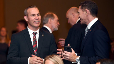 Shaky ground: Bulldogs CEO Andrew Hill, left, was appointed by the old regime.