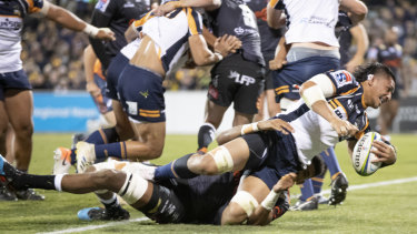 Pleasure and pain: Pete Samu scores off the back of a Brumbies rolling maul.