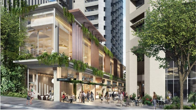 Commercial tenancies are proposed to be built at the base of the commercial tower at 62 Mary Street.