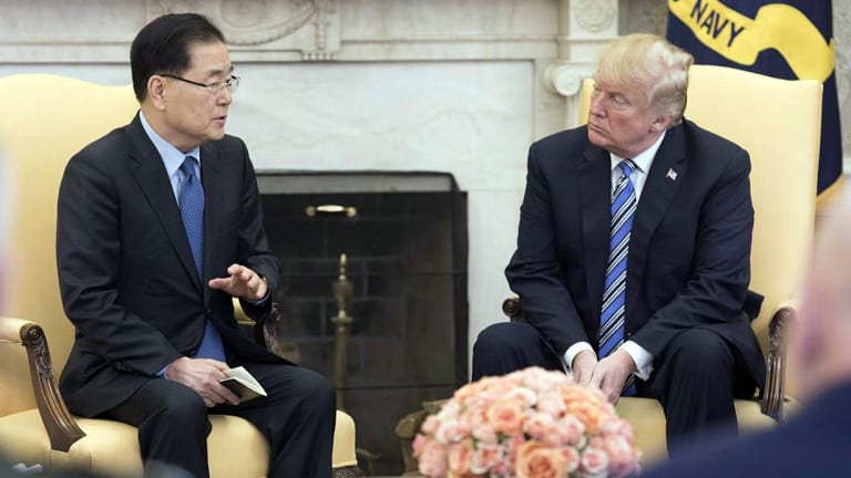 South Korea's national security adviser Chung Eui-yong meets US President Donald Trump at the White House in Washington on March 8.
