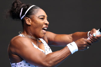 American great Serena Williams in action against Russia's Anastasia Potapova on day one of the Australian Open.