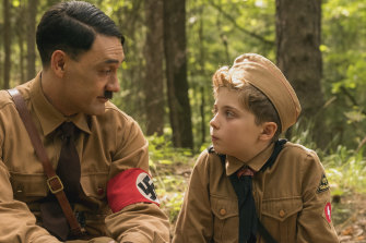 In the film adaptation of Christine Leunens' novel, the director, Taika Waititi, makes Hitler come of out Jo Jo's imagination for the audience to see.