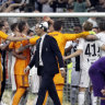 Juventus players celebrate their win over Fiorentina and clinching the title.