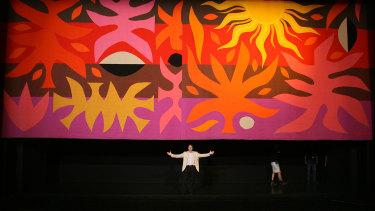 Artist John Coburn's Curtain of the Sun in the Opera Theatre at the Sydney Opera House.