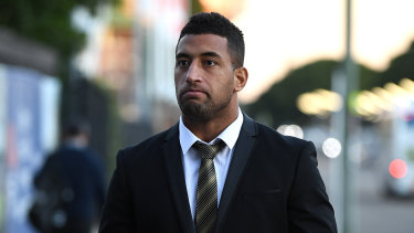Penrith player Viliame Kikau arrives to face the judiciary on Tuesday night.