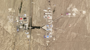 An image of the laser facility in Xinjiang, China, taken on July 22, 2021 by Planet Labs.