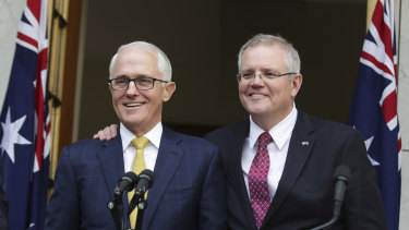 Malcolm Turnbull and Scott Morrison worked closely as prime minister and treasurer but have fallen out since the 2018 leadership switch.