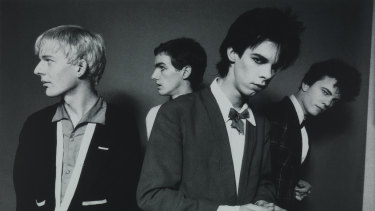 A photoshoot for the cover of Brave Exhibitions in June, 1978. From left: Phill Calvert, Mick Harvey, Nick Cave, Tracy Pew.
